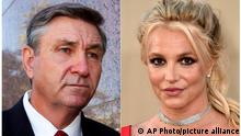 This combination photo shows Jamie Spears, father of singer Britney Spears, leaving the Stanley Mosk Courthouse in Los Angeles on Oct. 24, 2012, left, and singer Britney Spears at the Los Angeles premiere of Once Upon a Time in Hollywood on July 22, 2019. A hearing on the court conservatorship that controls the money and affairs of Britney Spears has been closed to the public and media. Jamie Spears temporarily stepped down earlier this month from his role as conservator over her personal life, though maintained financial control over her. On Tuesday, prosecutors declined to file charges against Jamie Spears after a child-abuse investigation involving Britney's son. (AP Photo)