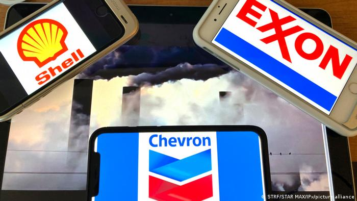 The names of oil and gas giants Exxon Mobil, Shell and Chevron