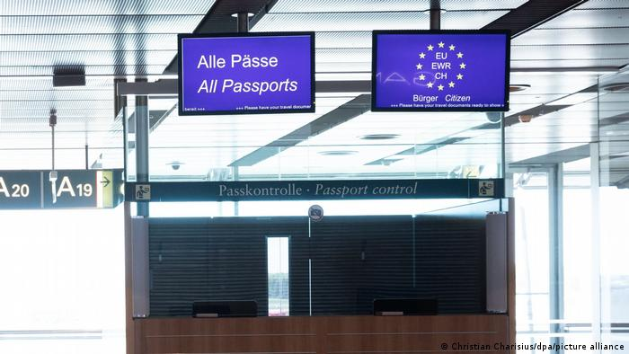 The passport control desk at Hamburg airport