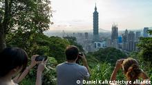 Taiwan: Zentrum von Taipei mit Taiwans höchstem Wolkenkratzer 'Taipei 101'. Foto vom 14. Mai 2016.