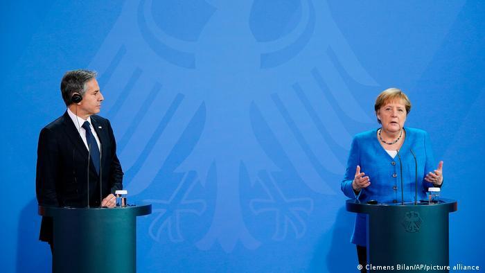 Blinken and Merkel at a press conference