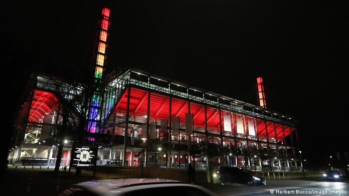RheinEnergieStadion lit up in rainbow colors