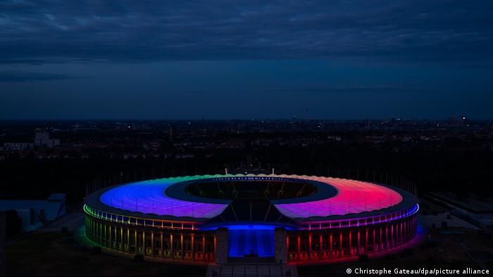 Berlin's Olympiastadion lit up in rainbow colors