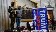 January 6, 2021, Washington, District of Columbia, USA: Pro-Trump mobs storm the US Capitol Wednesday, marauding in hallways, offices and forcing their way into Senate chambers in a stunning attempt to stop the official counting of electoral votes confirming the presidential election the Joe Biden. (Credit Image: © Miguel Juarez Lugo/ZUMA Wire