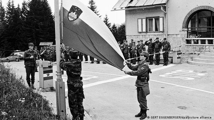 Slowenien Unabhängigkeit Fahnenhissung