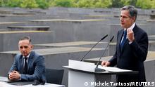 U.S. Secretary of State Blinken speaks next to German Foreign Minister Heiko Maas during a visit at Holocaust Memorial as a part of Holocaust Dialogue signing event in Berlin, Germany June 24, 2021. REUTERS/Michele Tantussi