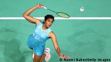 BIRMINGHAM, ENGLAND - MARCH 18: Pusarla Venkata Sindhu returns a shot during her round 16 match against Line Christophersen during day two of YONEX All England Open Badminton Championships at Utilita Arena Birmingham on March 18, 2021 in Birmingham, England. (Photo by Naomi Baker/Getty Images)