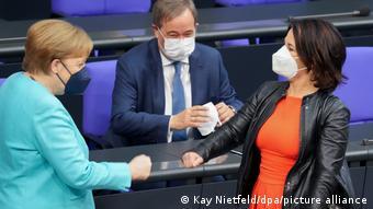 Bundestag Merkel, Laschet und Baerbock