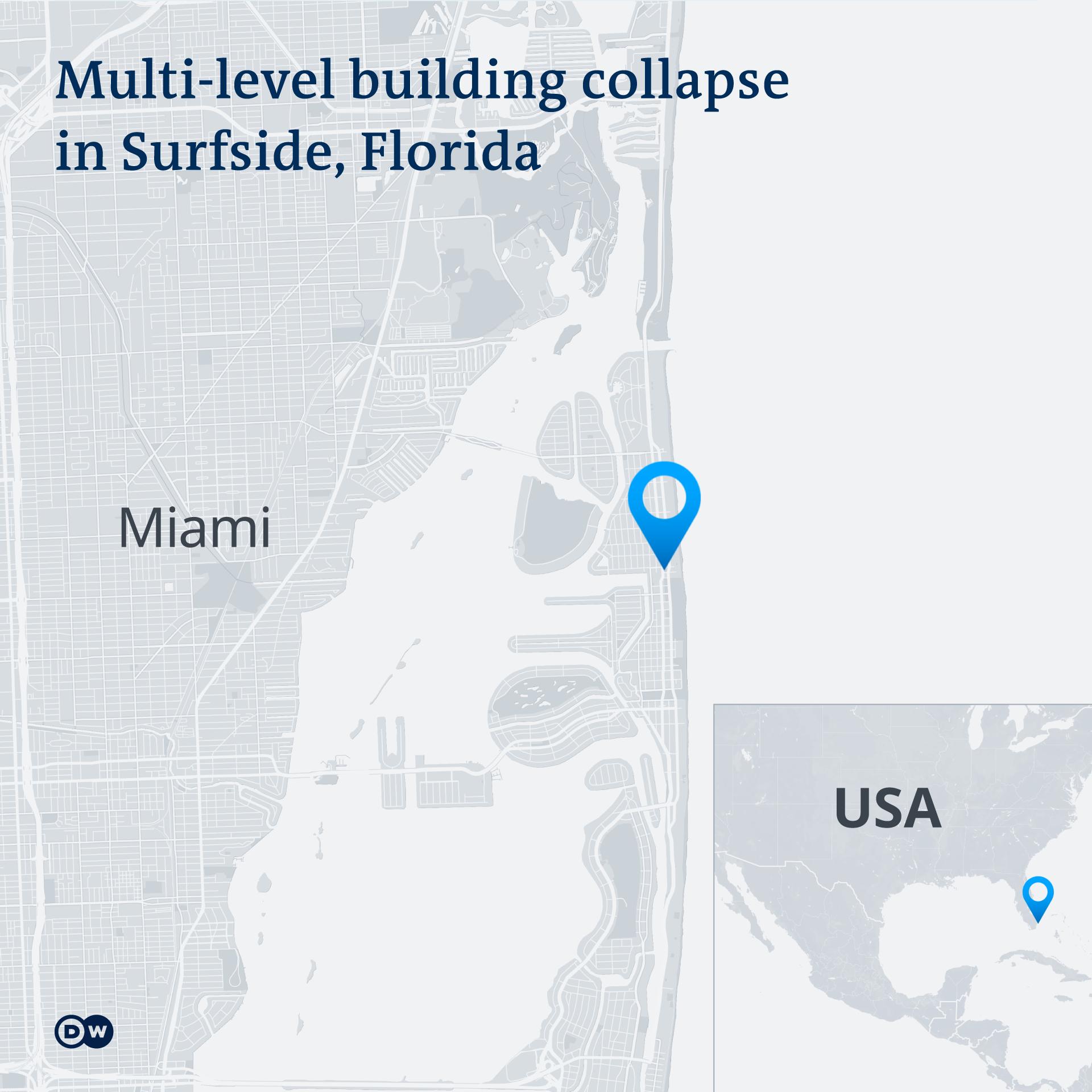 Infografik Hochhaus eingestürzt Online Karte Miami EN