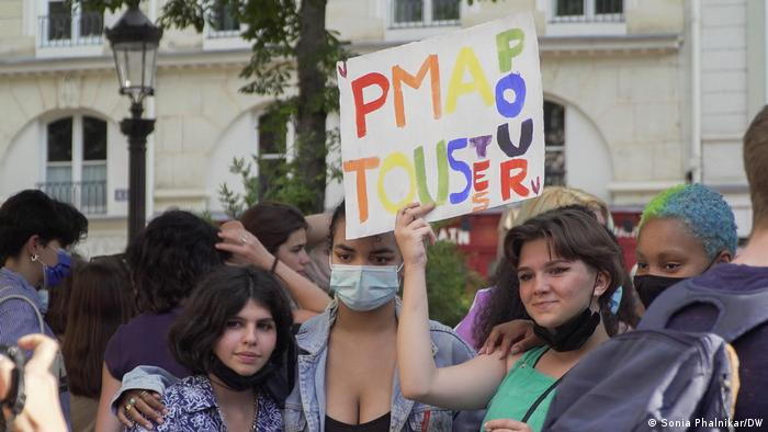 A protest to push for a bill to open medically assisted procreation for all women in France.