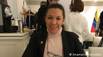 Mariela Magallanes, diputada por Aragua, exiliada en Italia dese el 2016.