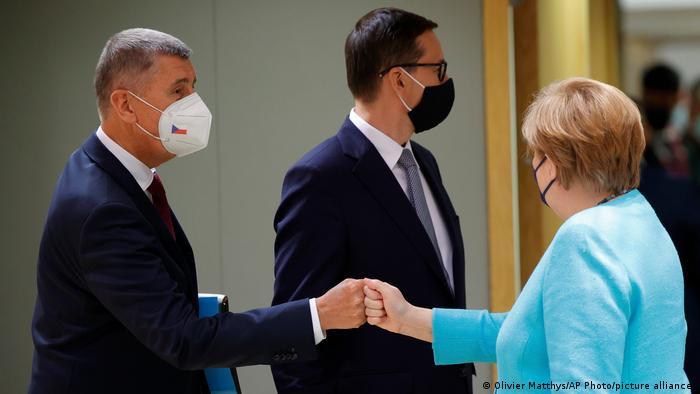 Прем'єри Чехії Андрей Бабіш і Польщі Матеуш Моравецький і канцлерка Німеччини Анґела Меркель