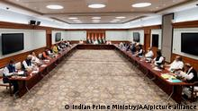 NEW DELHI, INDIA - JUNE 24: (----EDITORIAL USE ONLY – MANDATORY CREDIT - INDIAN PRIME MINISTRY / HANDOUT - NO MARKETING NO ADVERTISING CAMPAIGNS - DISTRIBUTED AS A SERVICE TO CLIENTS----) Indian Prime Minister Narendra Modi and Home Minister Amit Shah meet members of various political parties in New Delhi, India on June 24, 2021. India's prime minister is holding a crucial meeting with pro-India politicians from disputed Kashmir on Thursday for the first time since New Delhi stripped the region's semi-autonomy and jailed many of them in a crackdown. Indian Prime Ministry/Handout / Anadolu Agency