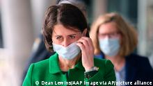 New South Wales Premier Gladys Berejiklian prepares to address a press conference in Sydney, Thursday, June 24, 2021. Berejiklian says Sydney is going through one the scariest times of the pandemic as a cluster of the highly-contagious Delta variant continues to spread. (Dean Lewins/AAP Image via AP)