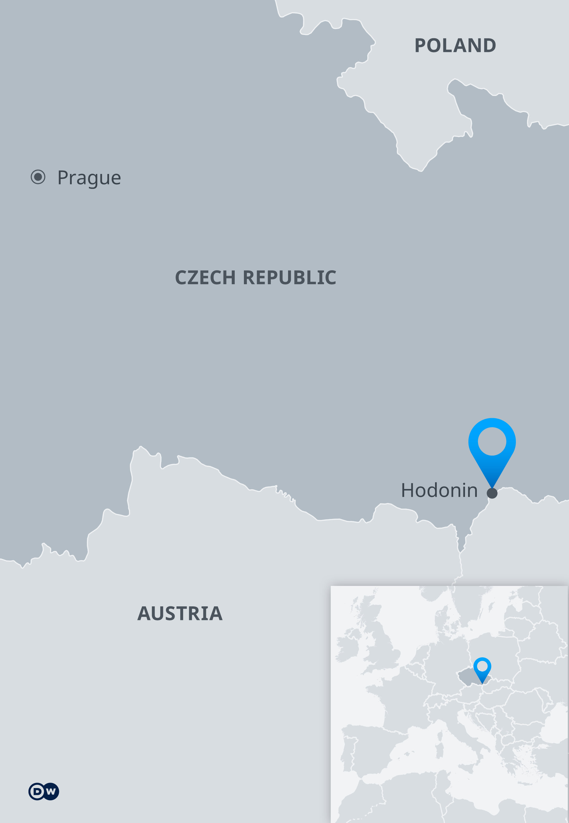 Map indicating location of Hodonin in Czech Republic