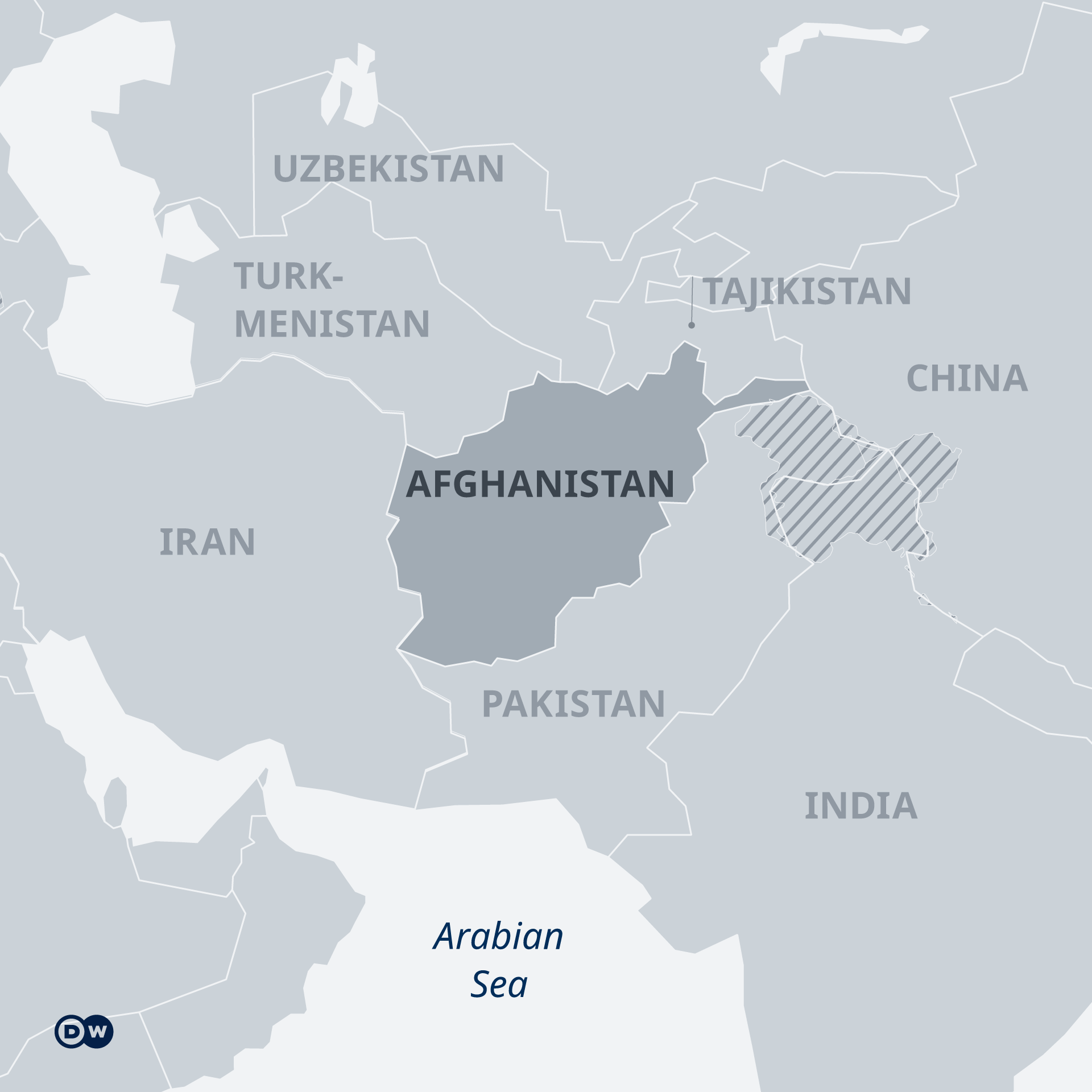 Map showing Afghanistan and neighboring countries