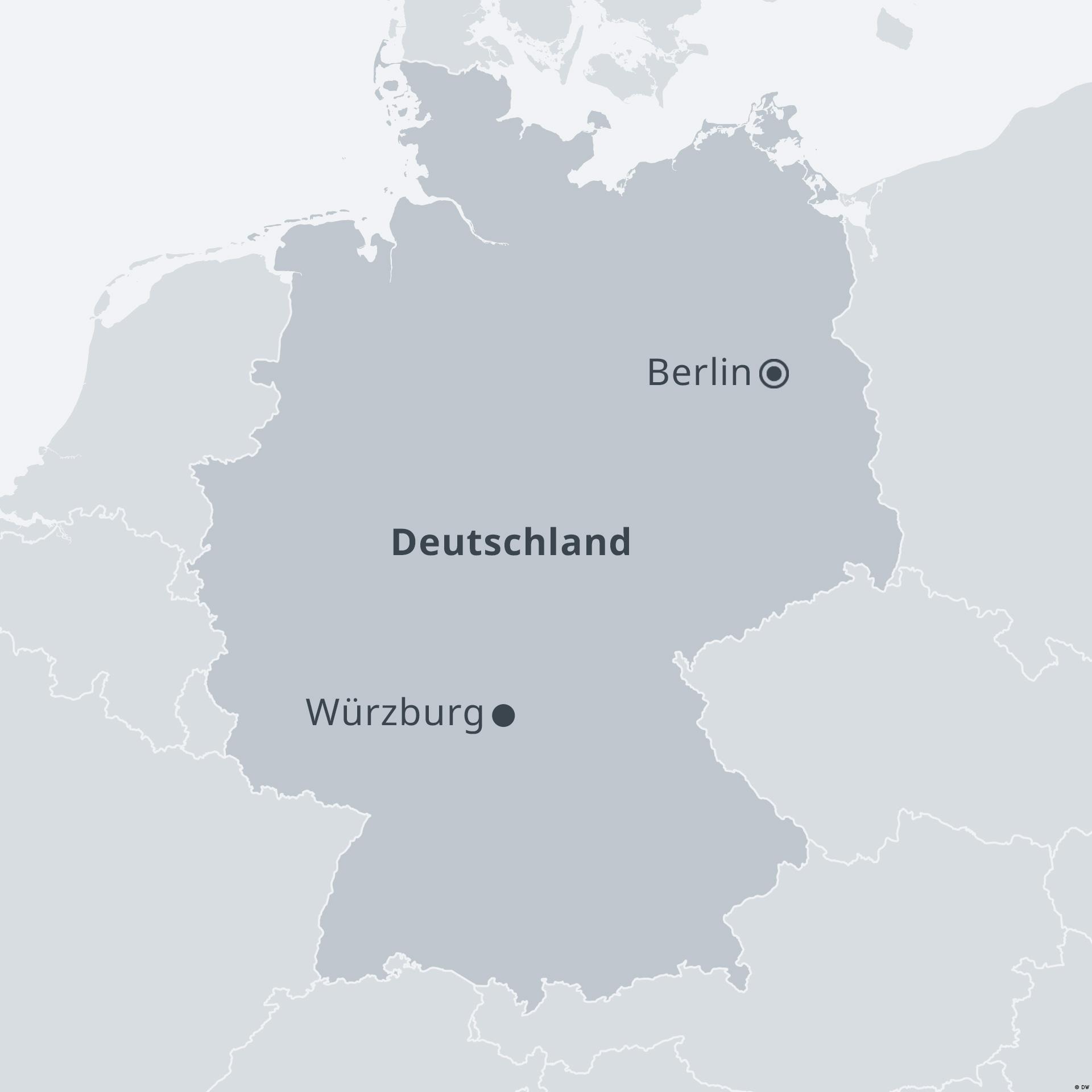 Karte Deutschland mit Würzburg DE