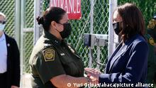 U.S. Vice President Kamala Harris and Gloria Chavez, Chief Patrol Agent of the El Paso Sector during her visit to the El Paso Border Patrol Station in El Paso, Texas on June 25, 2021. Photo by Yuri Gripas/ABACAPRESS.COM