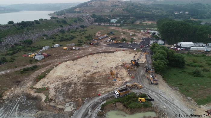 Türkei Kanal Istanbul Megaprojekt Baustelle startet