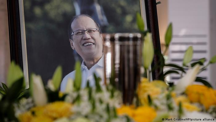 The urn of former President Benigno Aquino III is seen during a public viewing