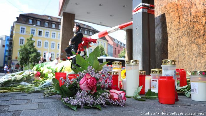 Flowers and candles laid for the Würzburg knife attack victims
