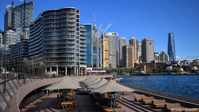 The waterfront showing skyscrapers along Circular Quay in central Sydney