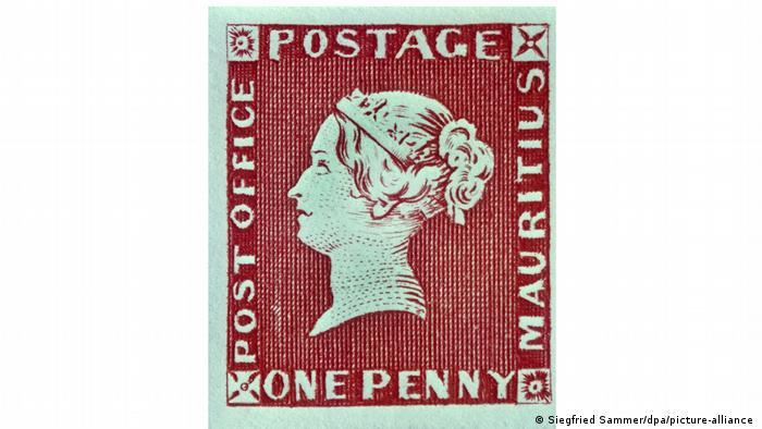Briefmarken Mauritius: One Penny Post Office, rot