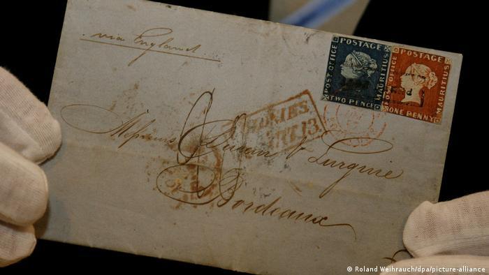 Brief l Bordeaux-Brief mit blauer und roter Mauritius-Briefmarke