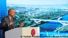 Turkish President Tayyip Erdogan speaks during the groundbreaking ceremony of Sazlidere Bridge over the planned route of Kanal Istanbul, in Istanbul, Turkey June 26, 2021. Presidential Press Office/Handout via REUTERS ATTENTION EDITORS - THIS PICTURE WAS PROVIDED BY A THIRD PARTY. NO RESALES. NO ARCHIVE.