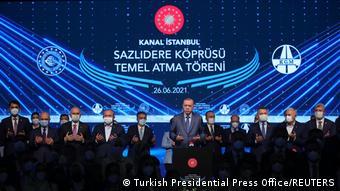 Türkei Megaprojekt Istanbul l Erdogan, Rede zum Spatenstich für die Sazlidere-Brücke