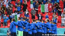 Soccer Football - Euro 2020 - Round of 16 - Italy v Austria - Wembley Stadium, London, Britain - June 26, 2021 Italy players line up before the match Pool via REUTERS/Andy Rain
