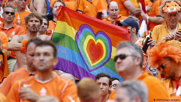 Netherlands supporters with a rainbow flag during the UEFA Euro 2020 tournament