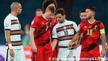 Soccer Football - Euro 2020 - Round of 16 - Belgium v Portugal - La Cartuja Stadium, Seville, Spain - June 27, 2021 Belgium's Kevin De Bruyne leaves the pitch after sustaining an injury Pool via REUTERS/Alexander Hassenstein