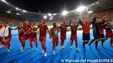 Soccer Football - Euro 2020 - Round of 16 - Belgium v Portugal - La Cartuja Stadium, Seville, Spain - June 27, 2021 Belgium's players celebrate after the match Pool via REUTERS/Marcelo Del Pozo