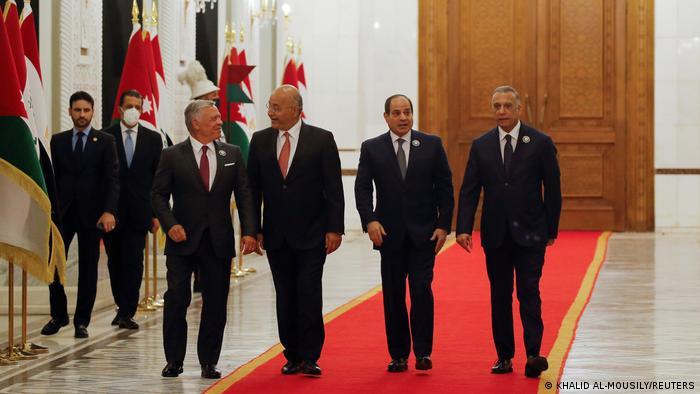 Raja Abdullah II, Presiden Barham Salih, Presiden Abdel Fattah al Sisi dan Perdana Menteri Mustafa al-Kadhimi di Baghdad, 27 Juni 2021