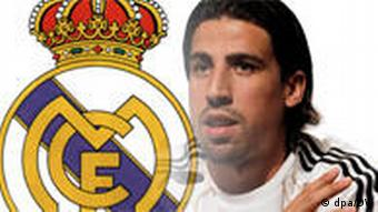 Sami Khedira with the Real Madrid crest