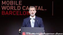 Felipe VI., König von Spanien, spricht während des Eröffnungsdinners vom Mobile World Congress. Der wichtigste Branchentreff der Mobilfunk-Industrie findet in einem «Hybrid»-Modus aus Online-Präsentationen und Events vor Ort statt. +++ dpa-Bildfunk +++