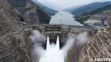 The Baihetan hydropower plant is seen in operation on the border between Qiaojia county of Yunnan province and Ningnan county of Sichuan province, China June 28, 2021. Picture taken with a drone. cnsphoto via REUTERS ATTENTION EDITORS - THIS IMAGE WAS PROVIDED BY A THIRD PARTY. CHINA OUT.