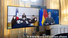 French Prime Minister Jean Castex meets German chancellor Angela Merkelby videoconference at Matignon in Paris, France on November 5, 2020. This is their first meeting, during which they have to discuss the main European and international issues and exchange on the measures taken in France, Germany and Europe to deal with the COVID-19 pandemic. Photo by Alexis Sciard/Pool/ABACAPRESS.COM