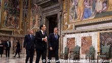 US Secretary of State Antony Blinken visits the Regia hall, in the Apostolic Palace, at the Vatican, ahead of his meeting with Pope Francis , as part of his three-nation tour of Europe, on June 28, 2021.