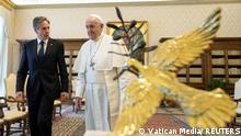 Pope Francis meets with U.S. Secretary of State Antony Blinken at the Vatican, June 28, 2021. Vatican Media/Handout via REUTERS ATTENTION EDITORS - THIS IMAGE WAS PROVIDED BY A THIRD PARTY.
