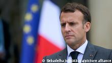 French President Emmanuel Macron gives a press conference after a meeting with NATO Secretary General at the Elysee Palace in Paris, France on May 21, 2021. Photo by Julie Sebadelha/ABACAPRESS.COM