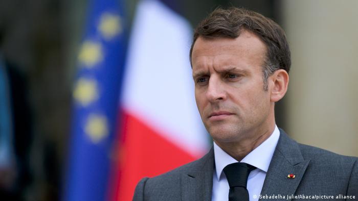 Paris Frankreich Präsident Emmanuel Macron Pressekonferenz