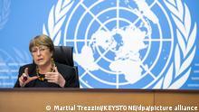 ARCHIV - 09.12.2020, Schweiz, Genf: Michelle Bachelet, UN-Hochkommissarin für Menschenrechte, spricht einen Tag vor dem «Tag der Menschenrechte» bei einer Pressekonferenz. Polizei und Ämter, Verordnungen und Einstellungen benachteiligen Menschen afrikanischer Herkunft systematisch, heißt es in einem Bericht des UN-Menschenrechtsbüros.(zu dpa UN:Schwarze sind vielerorts Opfer von strukturellem Rassismus) Foto: Martial Trezzini/KEYSTONE/dpa +++ dpa-Bildfunk +++