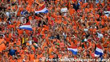 Dutch fans during the Euro 2020 soccer championship round of 16 match between Netherlands and Czech Republic in Budapest, Hungary, June 27, 2021. (CTK Photo/Ondrej Deml)