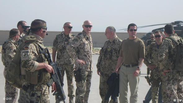 One of the aims of Guttenberg's visit is to boost the morale of soldiers