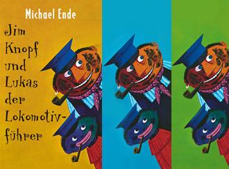 Montage aus Buchcovern Michael Ende: Jim Knopf und Lukas der Lokomotivführer (Thienemann Verlag)