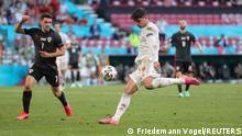 Soccer Football - Euro 2020 - Round of 16 - Croatia v Spain - Parken Stadium, Copenhagen, Denmark - June 28, 2021 Spain's Alvaro Morata scores their fourth goal Pool via REUTERS/Friedemann Vogel