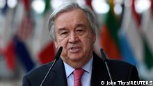 24.06.2021 Secretary-General of the United Nations Antonio Guterres addresses the media as he arrives on the first day of the European Union summit at The European Council Building in Brussels, Belgium June 24, 2021. John Thys/Pool via REUTERS