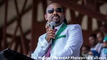 16.06.2021 Ethiopia's Prime Minister Abiy Ahmed speaks at a final campaign rally at a stadium in the town of Jimma in the southwestern Oromia Region of Ethiopia Wednesday, June 16, 2021. The country is due to vote in a general election on Monday, June, 21, 2021. (AP Photo/Mulugeta Ayene)